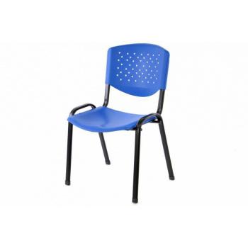 Stohovatelná interiérová židle, kovový rám / plastový sedák a opěradlo, modrá