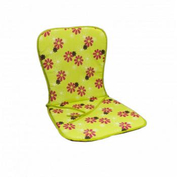 Polstrování na křeslo / židli s nízkým opěradlem, zelené + potisk květů
