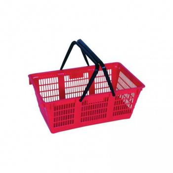 Plastový nákupní košík, sklopná držadla, červený