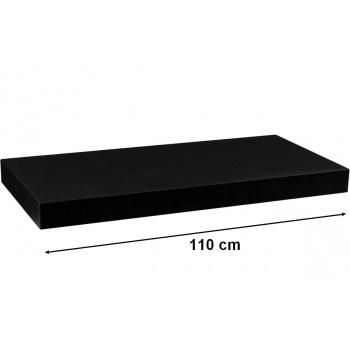 Nástěnná polička s levitujícím efektem černá, 110 cm