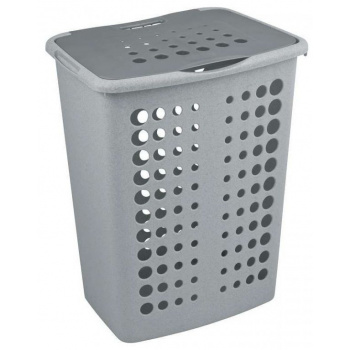 Vysoký koš na prádlo s větracími otvory a víkem, 40 l, šedý