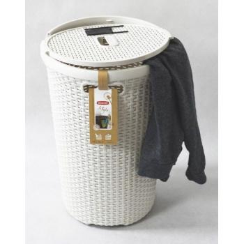 Moderní kulatý koš na prádlo s odnímatelným víkem 48 l, krémový