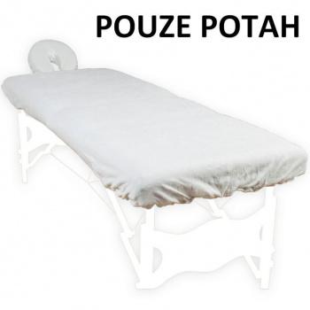 Bavlněný potah na masážní lehátko s opěrkou hlavy, bílý