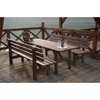 Zahradní obdélníkový stůl z masivu 180 cm, mořené borovicové dřevo