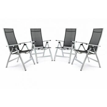 4 ks skládací zahradní židle s hliníkovým rámem, nastavitelné opěradlo