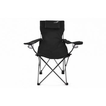 Luxusní skládací přenosná židle s polštářkem pod hlavu, černá