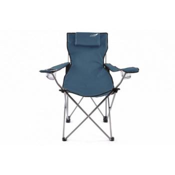 Luxusní skládací kempinková židle s polštářkem pod hlavu, modrá