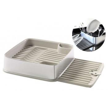 Moderní odkapávač na nádobí s výsuvným tácem, krémový