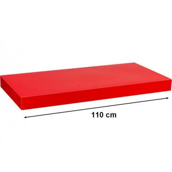 Nástěnná polička s levitujícím efektem lesklá červená, 110 cm