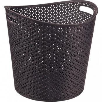 Prádelní plastový koš bez víka, držadla pro přenášení, 30 l, hnědý