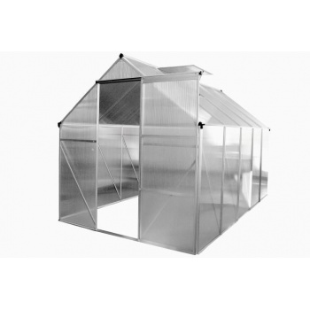 Polykarbonátový skleník 250x190x195 cm, automatické otevírání oken