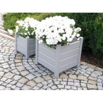 2 ks zahradní dřevěný květináč krychle, šedý