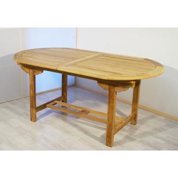 Rozkládací dřevěný stůl oválný, týkové dřevo, 170 - 230 cm