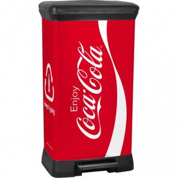 Designový odpadkový koš 50 l, nášlapný pedák, černá / potisk Coca Cola