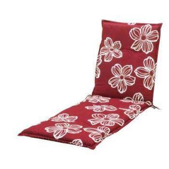 Oboustranné polstrování na lehátko, červené / květy
