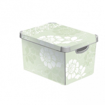 Dekorativní úložný box s víkem, malý, šedá / šedobílý potisk