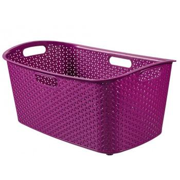 Nízký plastový koš na prádlo s úchyty 47 l, fialový