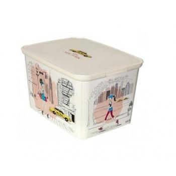 Plastový úložný box s víkem, velký, potisk Miss New York