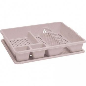 Kuchyňský odkapávač na nádobí s podnosem na odkapanou vodu, krémový