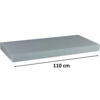 Nástěnná polička s levitujícím efektem stříbrná, 110 cm