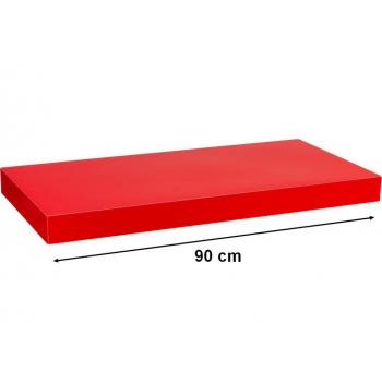 Nástěnná polička s levitujícím efektem lesklá červená, 90 cm