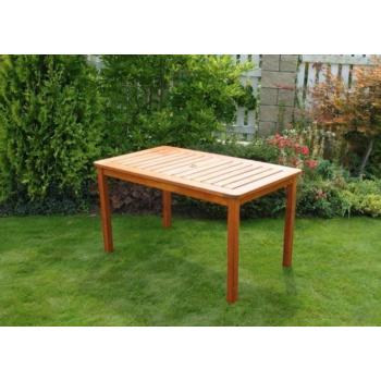 Dřevěný venkovní stůl obdélníkový, 130 cm, mořená borovice