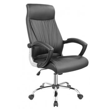Elegantní kancelářské křeslo, funkce houpání, kožený vzhled, černé