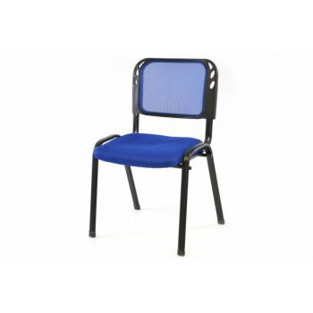 Kovová stohovatelná židle s textilním polstrováním, modrá