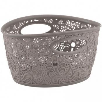 Plastový dekorativní úložný košík, hnědo-šedý
