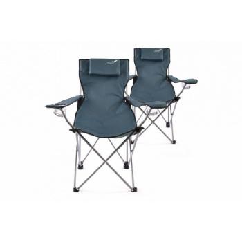 2 ks skládací židle v kovovým rámem, polštářek pod hlavu, modrá