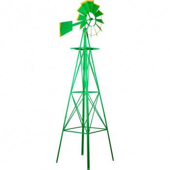 Velký kovový větrník - styl amerických rančů, 245 cm, zelený