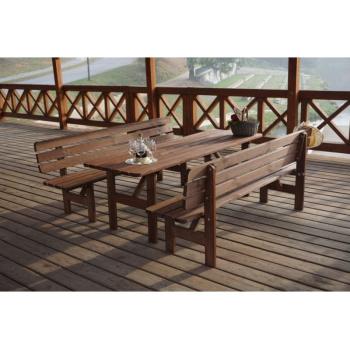Dřevěná zahradní lavice z masivu 180 cm, mořená borovice