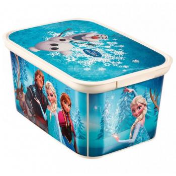 Plastový box pro uložení věcí s víkem, malý, potisk Ledové království