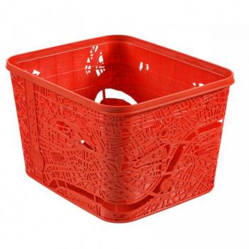 Designový plastový úložný box bez víka, červený