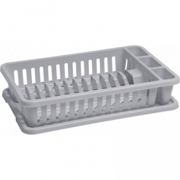 Kuchyňský odkapávač s tácem na vodu, obdélníkový, šedý
