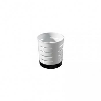 Kuchyňský odkapávač na příbory kulatý, moderní vzhled, bílý