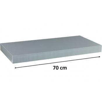 Nástěnná polička s levitujícím efektem stříbrná, 70 cm