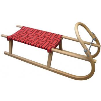 Dětské dřevěné sáňky s kovovými lyžinami, textilní sedlo - červené