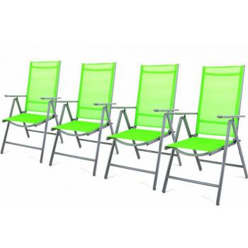 4 ks elegantní zahradní židle s textilním výpletem, zelená
