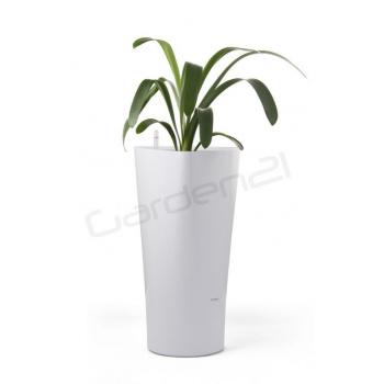 Okrasný samozavlažovací květináč trojúhelníkový, vysoký 56,5 cm, bílý
