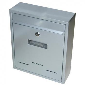 Menší nástěnná poštovní schránka, uzamykatelná, šedá