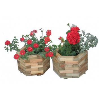 Venkovní dřevěný dekorativní květináč / obal na květináč, 37 cm