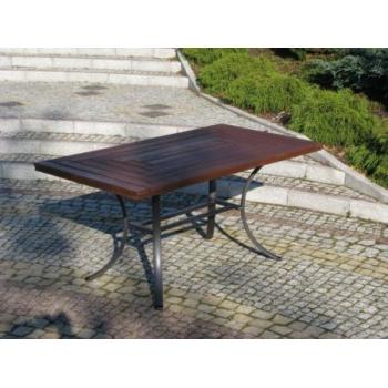 Zahradní obdélníkový stůl, kovová kostra / dřevo THERMOWOOD