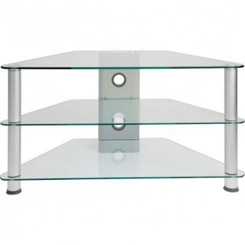 Moderní skleněný stolek pod televizi, bezpečnostní sklo / kovové nohy