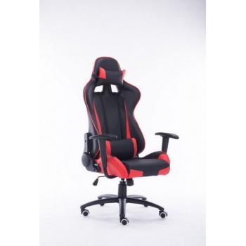 Otočná kancelářská židle s bederním a hlavovým polštářkem, červená /černá