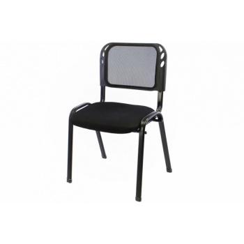 Kovová stohovatelná židle, polstrovaný sedák, černá