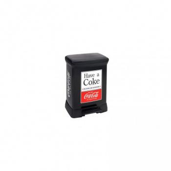 Designový odpadkový koš 30 l, pedálový, potisk Coca Cola