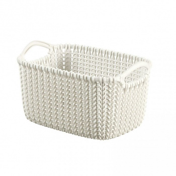 Úložný plastový košík 3l, háčkovaný design, krémový