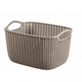 Dekorativní úložný plastový košík 8 l, háčkovaný design, hnědý