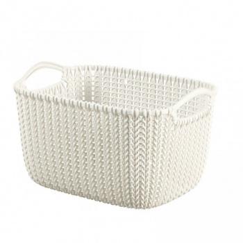 Dekorativní úložný plastový košík 8 l, háčkovaný design, krémový